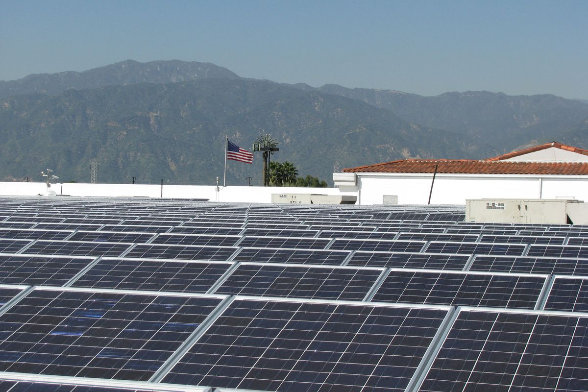 A solar installation on top of a roof in Covina, California