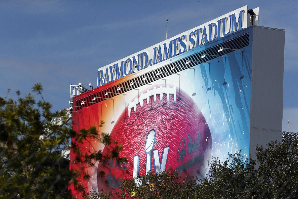 A general view of signage for Super Bowl LV at Raymond James Stadium.