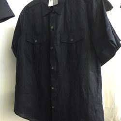 Button down blouse in navy, $89 (was $190)