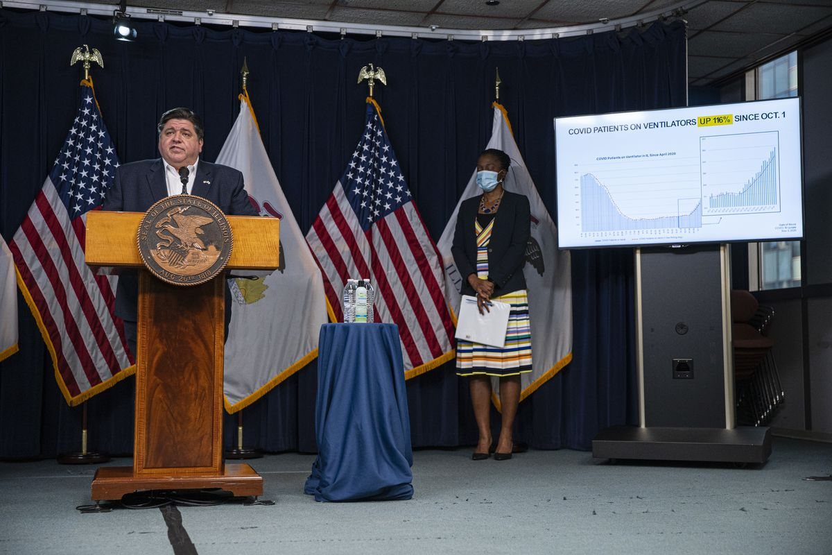 Gov. J.B. Pritzker updates the media on the latest COVID-19 numbers during his daily COVID-19 update at the James R. Thompson Center last week.