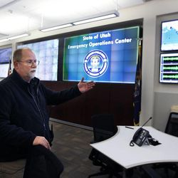 Bob Carey gives a tour of the emergency bunker at the Capitol in Salt Lake City, Tuesday, April 7, 2015.