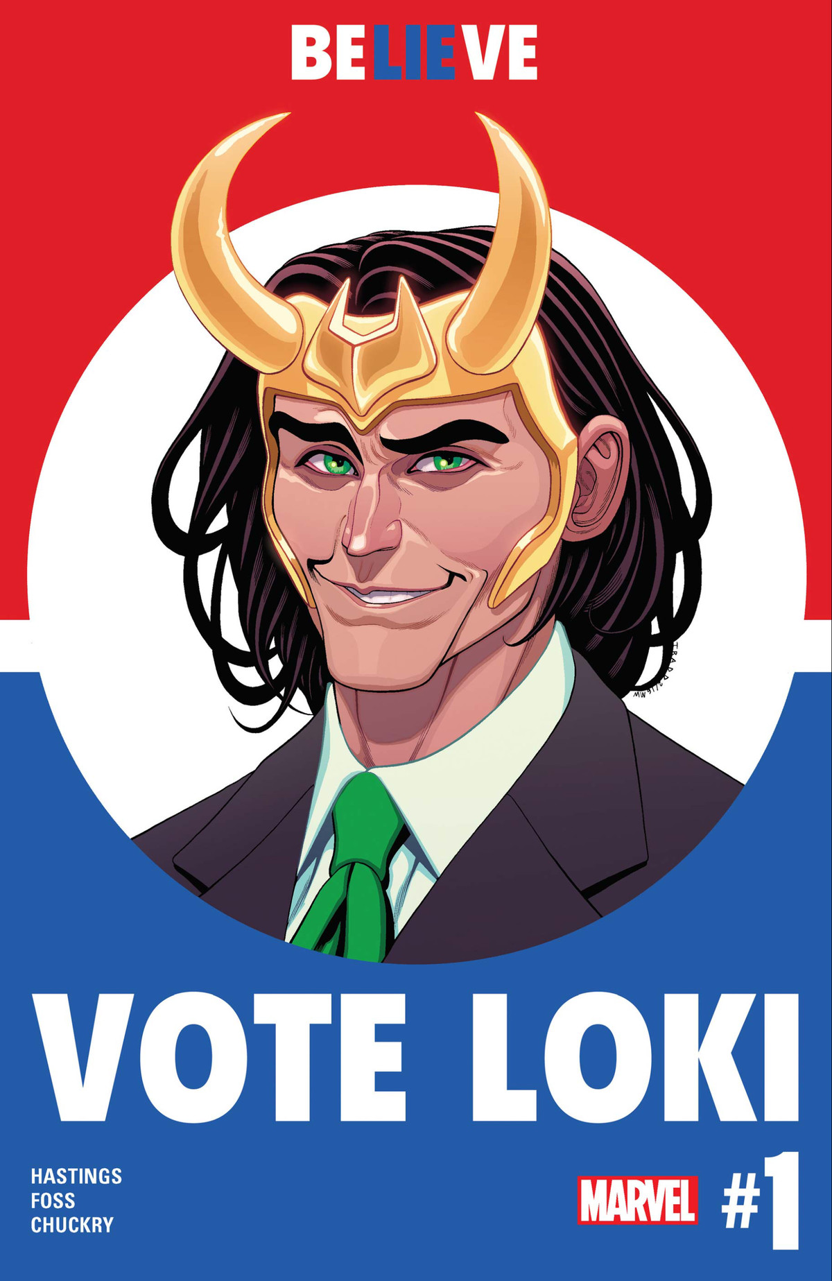 Loki, wearing his crown and a suit with a green tie, smiles cannily at the viewer on a red and blue campaign poster proclaiming VOTE LOKI, on the cover of Vote Loki, Marvel Comics (2016).
