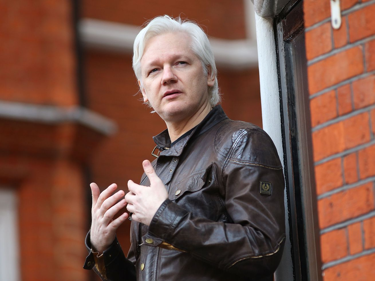 WikiLeaks founder Julian Assange speaks to the media from the balcony of the Embassy of Ecuador on May 19, 2017, in London, England.