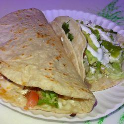 Quesadilla and tacos at Los Hermillos