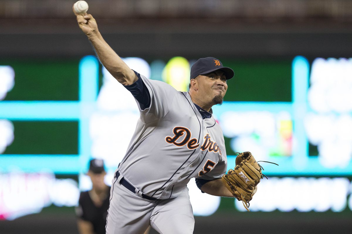 Aug 13, 2012; Minneapolis, MN, USA: Detroit Tigers relief pitcher Joaquin Benoit (53) delivers a pitch in the eighth inning against the Minnesota Twins at Target Field. The Twins won 9-3 Mandatory Credit: Jesse Johnson-US PRESSWIRE