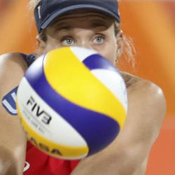 United States' Kerri Walsh Jennings passes a ball while playing against Brazil during the women's beach volleyball bronze medal match of the 2016 Summer Olympics in Rio de Janeiro, Brazil, Wednesday, Aug. 17, 2016. (AP Photo/Petr David Josek)