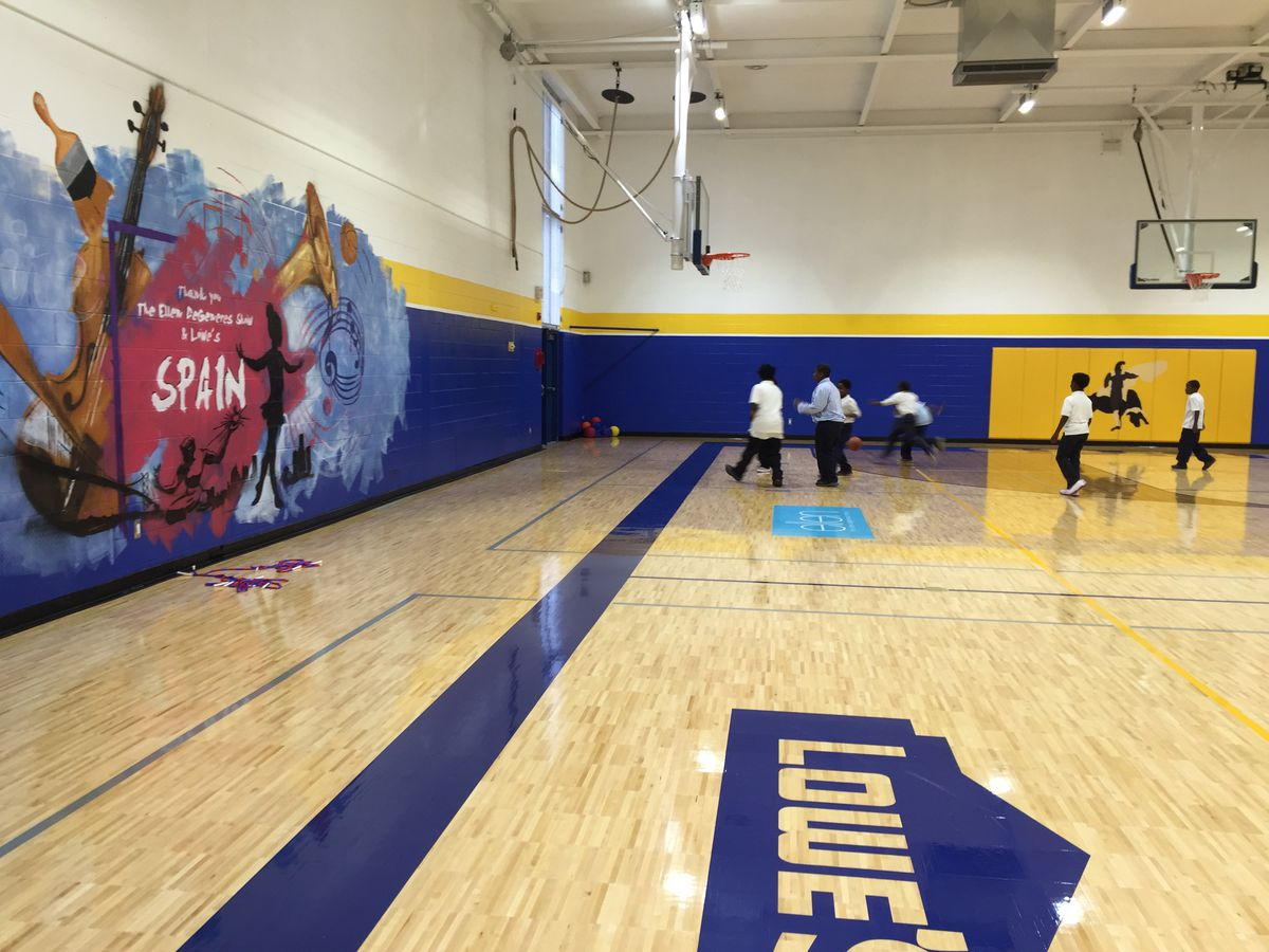 """Lowe's and the """"Ellen DeGeneres Show"""" put $500,000 into renovating the Spain Elementary school gym."""