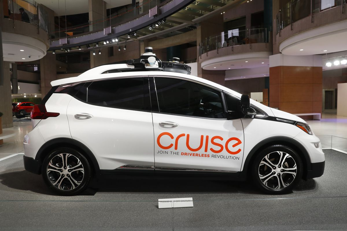In this Jan. 16, 2019, file photo, Cruise AV, General Motor's autonomous electric Bolt EV is displayed in Detroit.