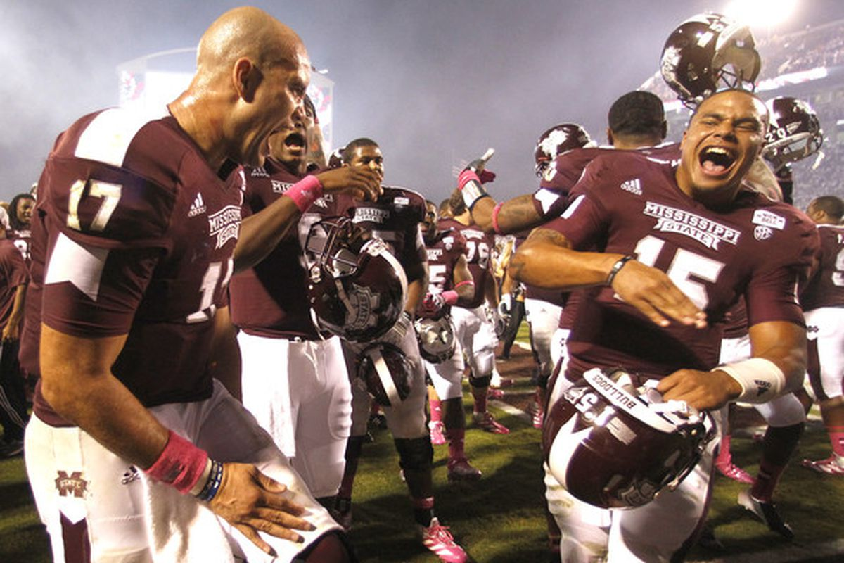 Tyler Russell (left) and Dak Prescott (right) celebrating after a victory of Tennessee