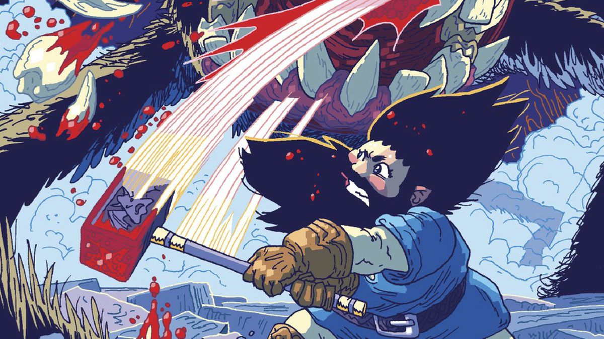 She Dwarf swings her bloodied hammer, bashing several teeth from the maw of a hairy, multi-legged beast in The Savage Beard of She Dwarf, Oni Press (2020).