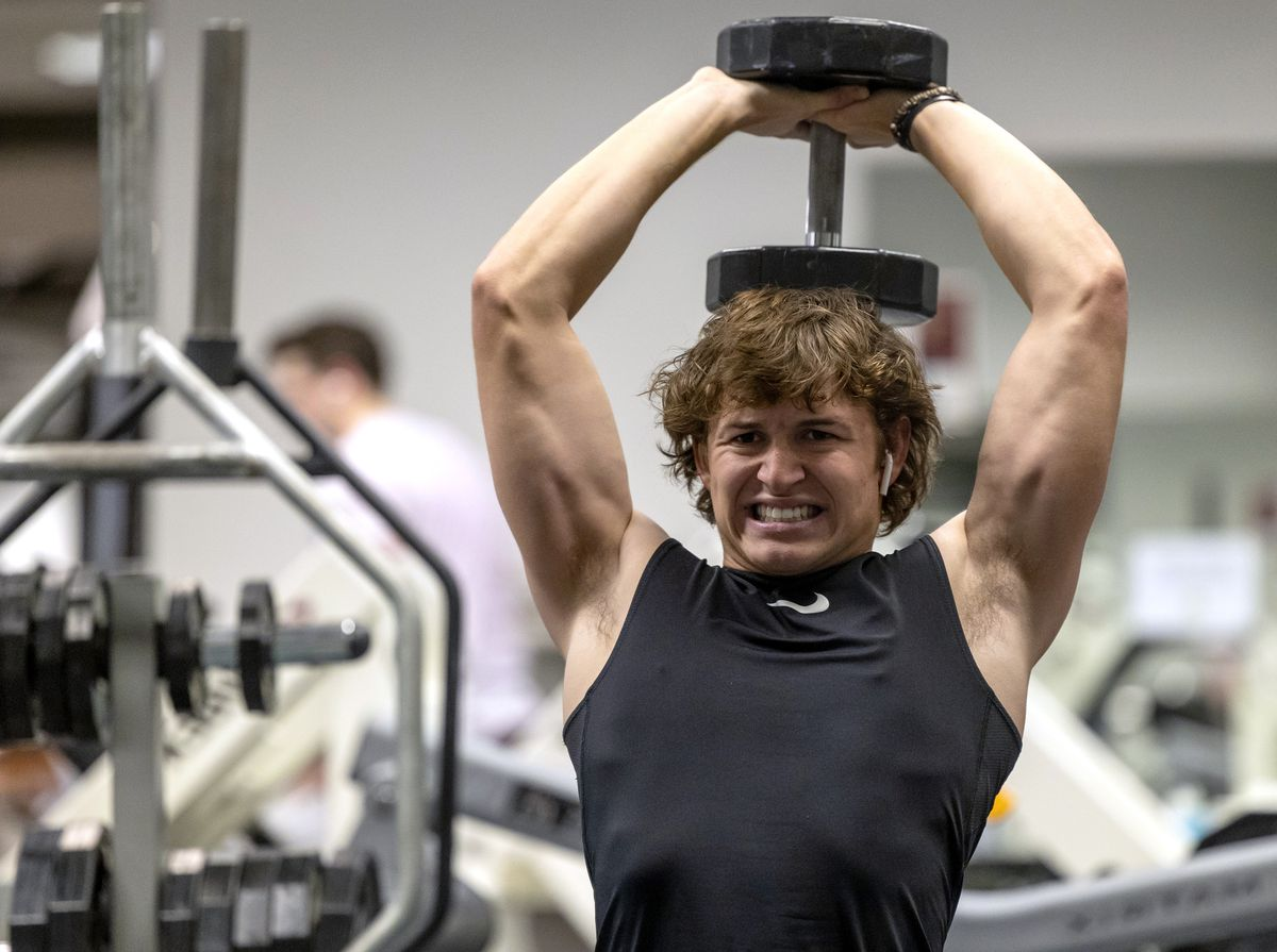 Cody Strong, a senior at Corner Canyon High School, works out at Treehouse Athletic Club in Draper on Wednesday, Sept. 29, 2021. Cody battled COVID-19 and is on the comeback.