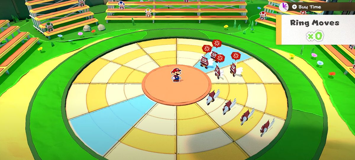Mario stands at the center of a ring of enemies in Paper Mario: The Origami King