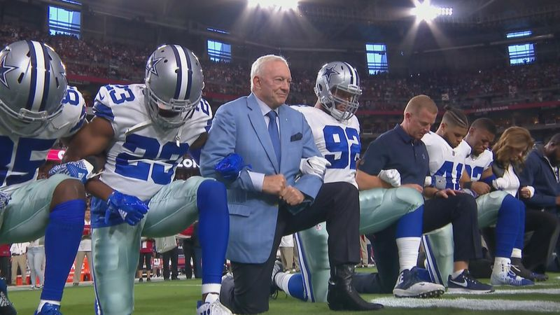 Jerry Jones and the Cowboys took a knee before the national anthem