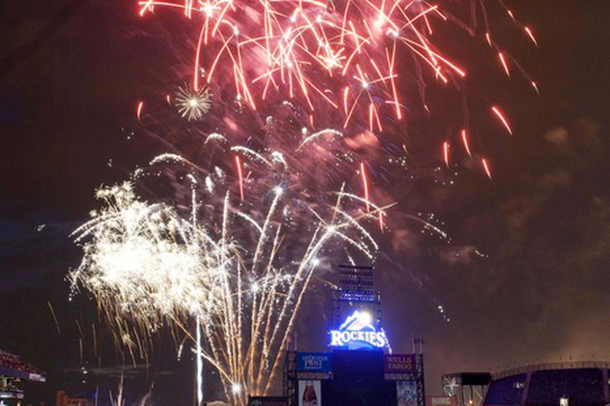 Jun 28, 2012; Denver, CO, USA;  Fireworks light up Coors Field after Colorado Rockies defeated the San Diego Padres by a score of 10-2. Mandatory Credit: Andrew B. Fielding-US PRESSWIRE