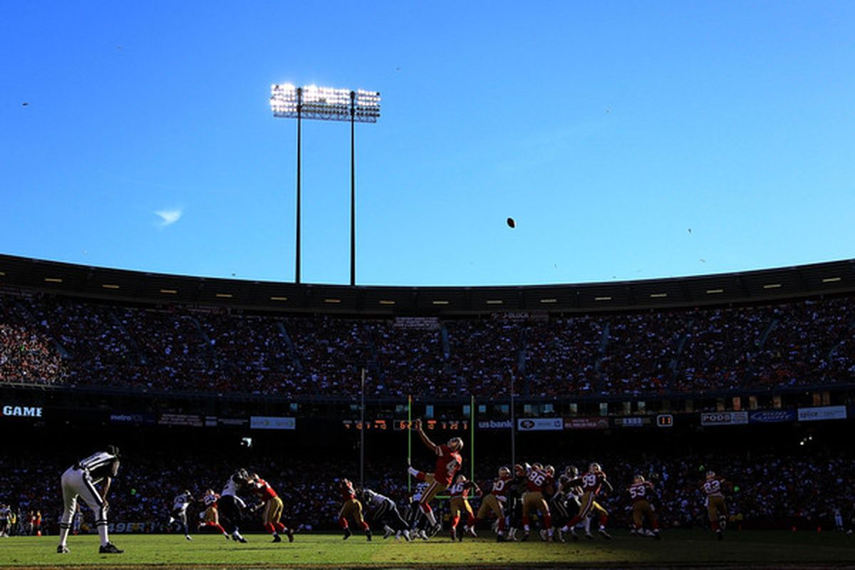 SAN FRANCISCO - NOVEMBER 14:  Andy Lee #4 of the San Francisco 49ers punts the ball during their game against the St. Louis Rams at Candlestick Park on November 14 2010 in San Francisco California.  (Photo by Ezra Shaw/Getty Images)