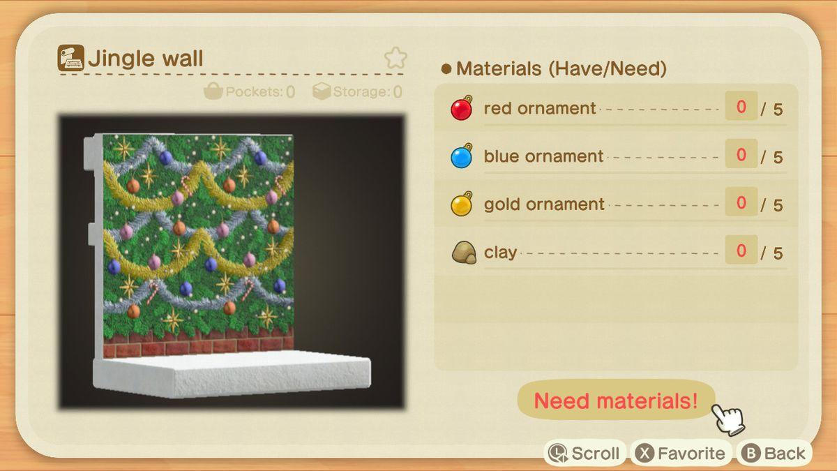 An Animal Crossing recipe for a Jingle Wall