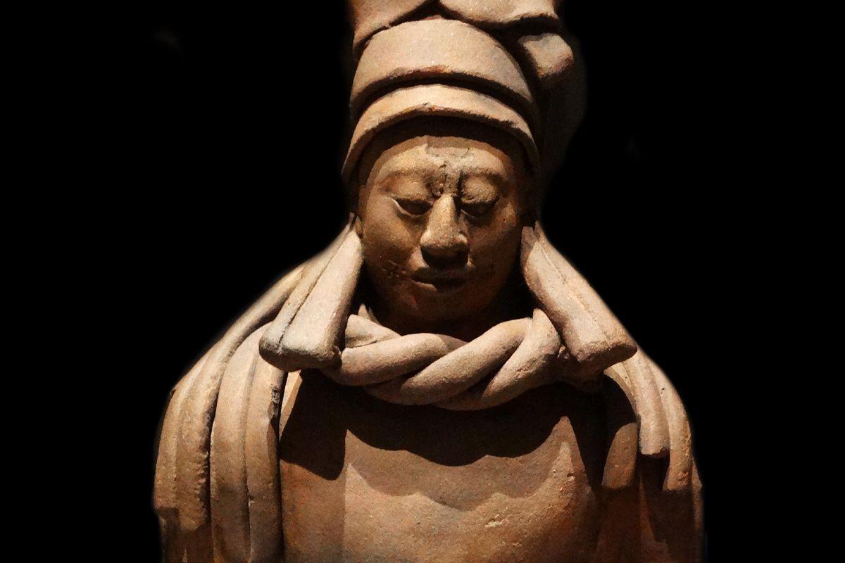 Mayan ceramic figurine of a kneeling female shaman or priestess. From Simojovel, Chiapas, Mexico, 600-900 AD.