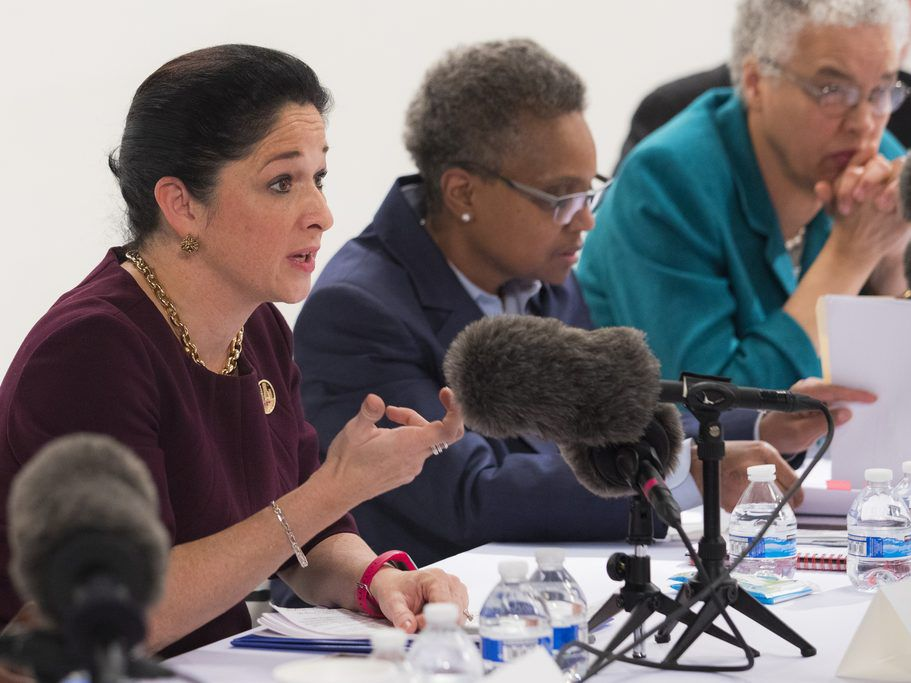 (From left) Mayoral candidates Comptroller Susana Mendoza, Lori Lightfoot and Cook County Board President Toni Preckwinkle meet with the Chicago Sun-Times Editorial Board earlier this year. File Photo.   Ashlee Rezin/Sun-Times