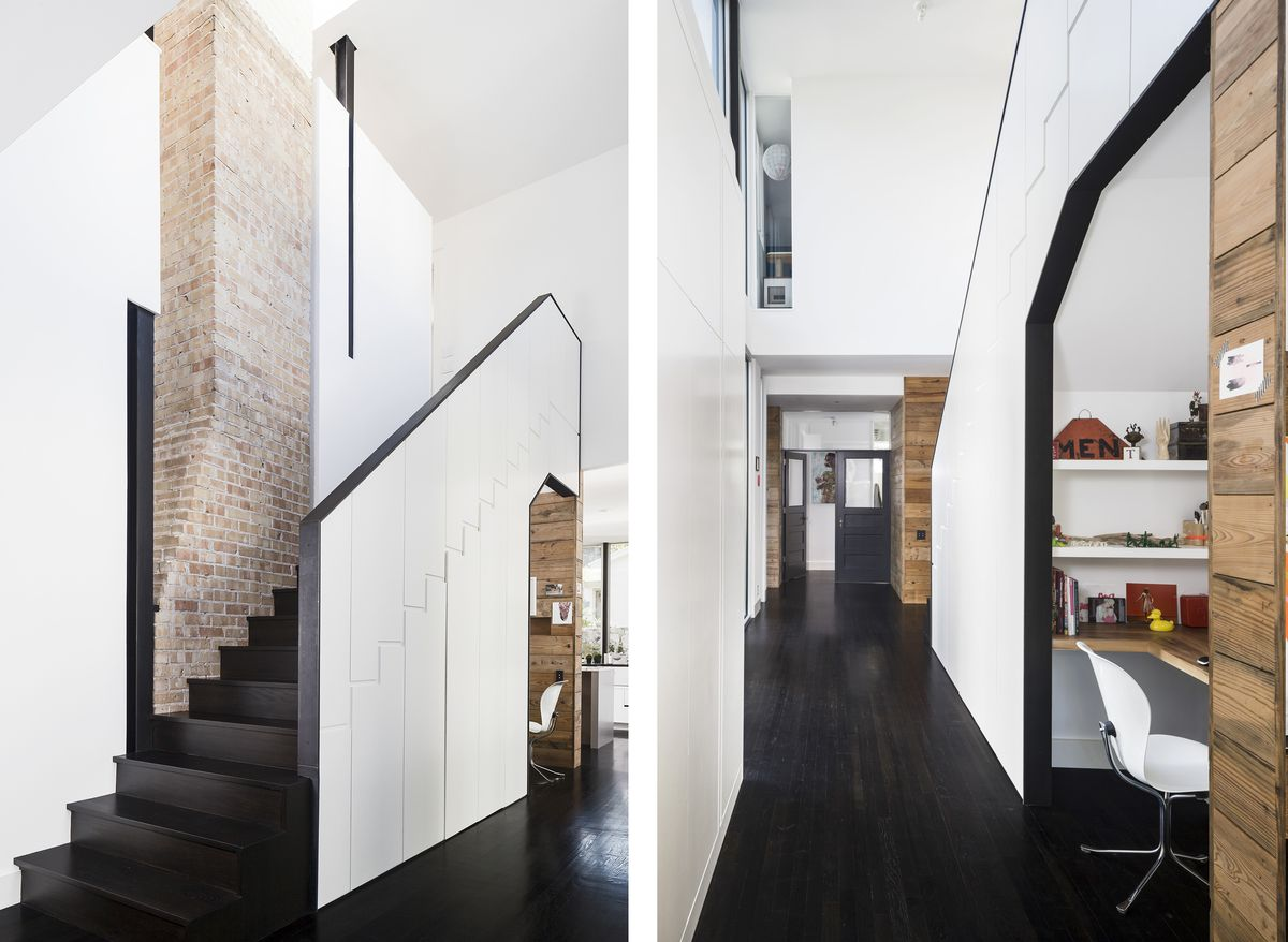 Two images of the hallway + main staircase in the home. The hallway opens up to an area with a desk, and the staircase has part of the chimney coming out of it.