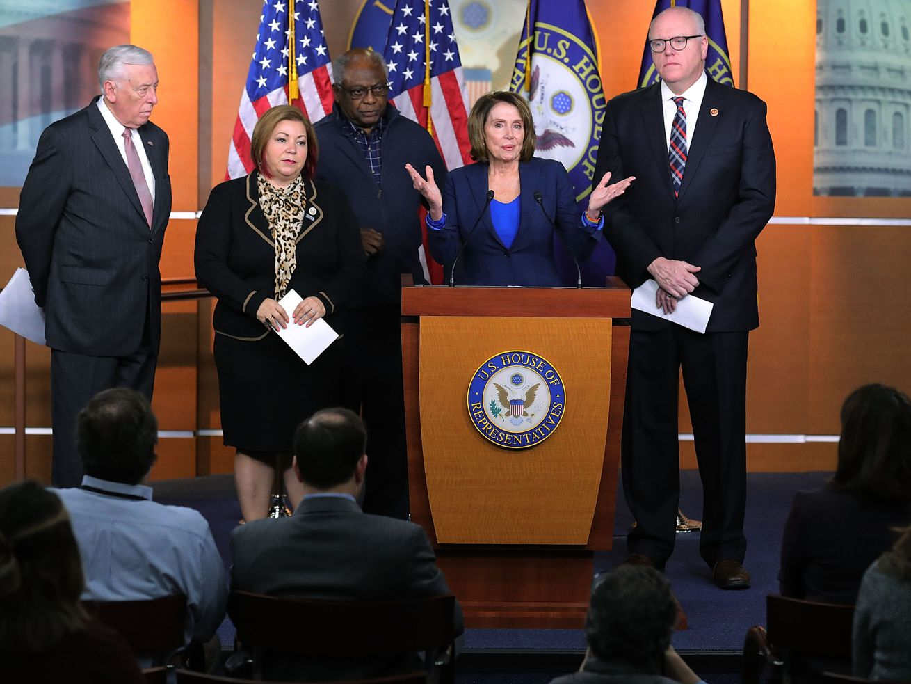 The current House Democratic leadership team during a news conference at the Capitol on January 31, 2018: (L-R) House Minority Whip Steny Hoyer, Rep. Linda Sanchez (D-CA), Rep. James Clyburn (D-SC) and Rep. Joseph Crowley (D-NY). Crowley lost the midterm election to Alexandria Ocasio Cortez.