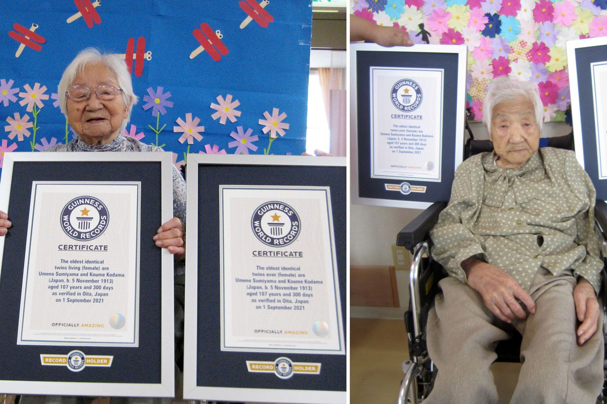 Umeno Sumiyama (left) and Koume Kodama at separate nursing homes in Shodoshima island, left, and Oita prefecture, Japan. At 107 years old, the Japanese twin sisters have been certified by Guinness World Records as the world's oldest living identical twins.