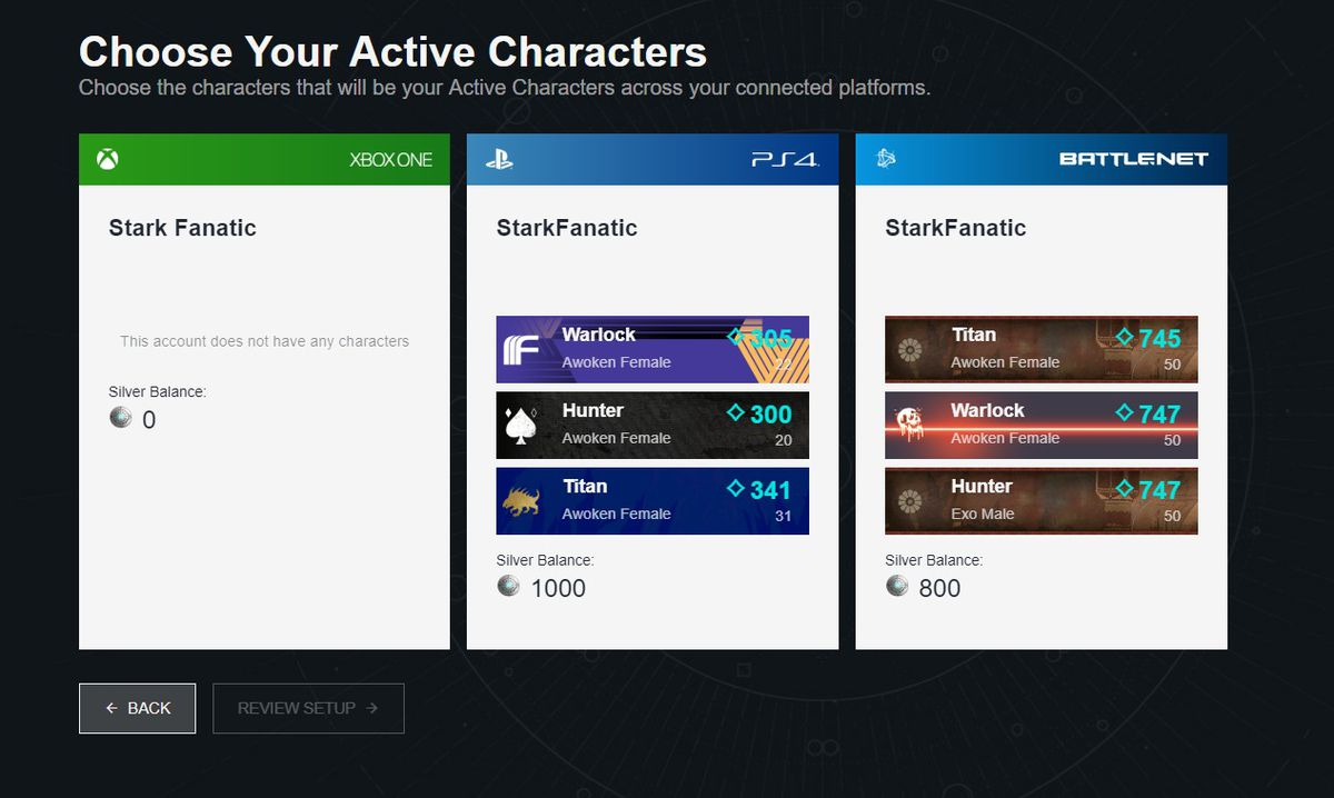 Destiny 2 cross-save setup, choosing your active characters