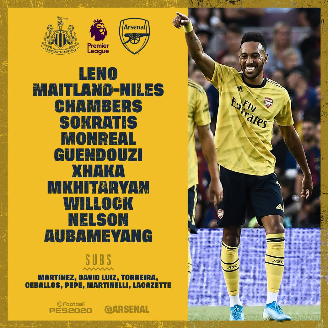 Arsenal Fc Line Up Vs Newcastle
