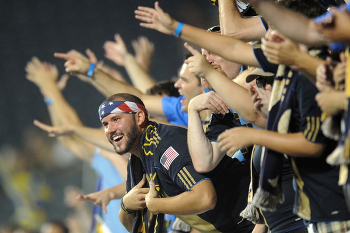 CHESTER PA - SEPTEMBER 01: Philadelphia Union fans cheer after the game against Chivas de Guadalajara at PPL Park on September 1 2010 in Chester Pennsylvania. The Union won 1-0.  (Photo by Drew Hallowell/Getty Images)