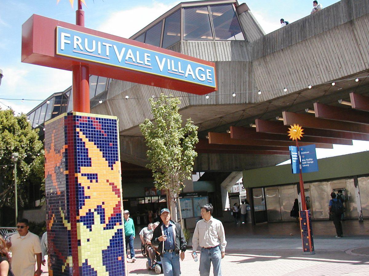 The Fruitvale Village sign next to Fruitvale BART station.