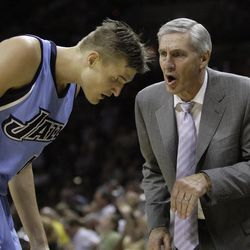 Utah Jazz coach Jerry Sloan gives instructions to forward Andrei Kirilenko of Russia in the first half against the San Antonio Spurs in Game 5 of the NBA Western Conference Final basketball game in San Antonio Wednesday, May 30, 2007.