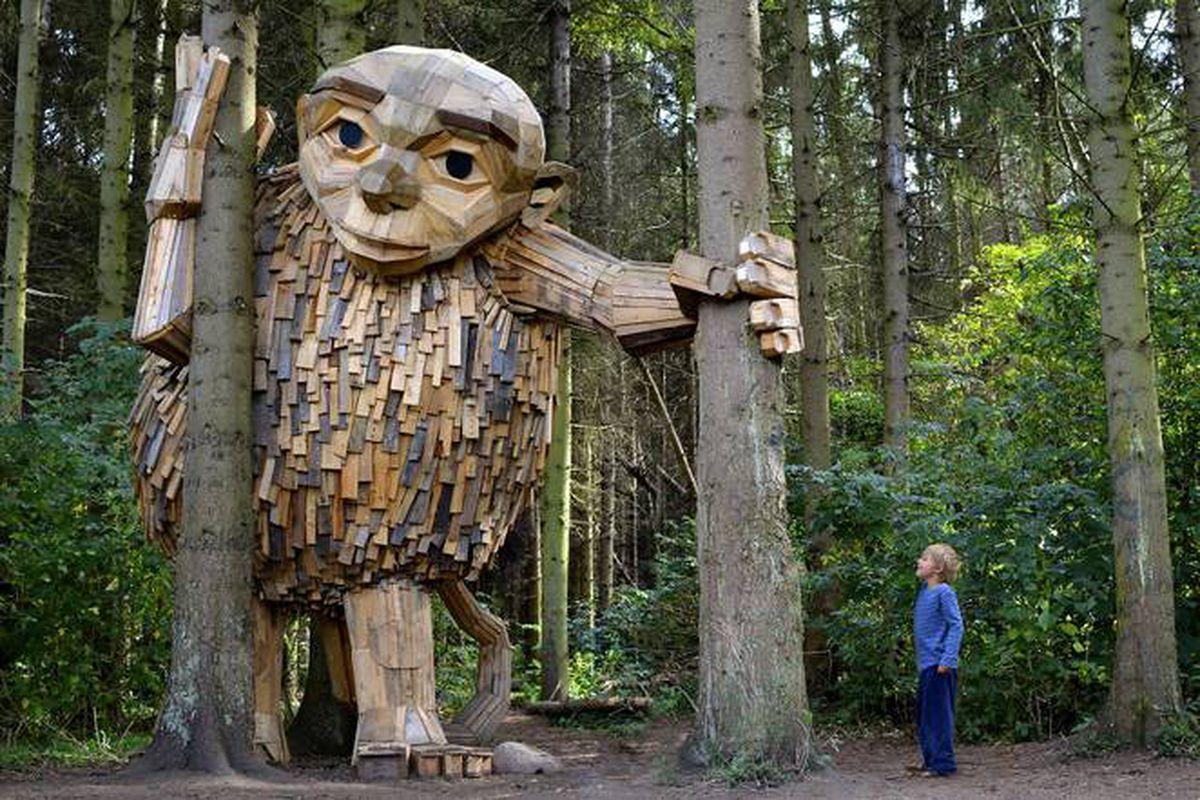 wooden giants in the woods near Copenhagen