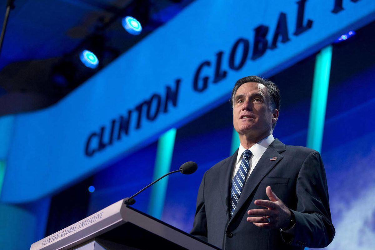 Republican presidential candidate, former Massachusetts Gov. Mitt Romney speaks at the Clinton Global Initiative convention in New York, Tuesday, Sept. 25, 2012.