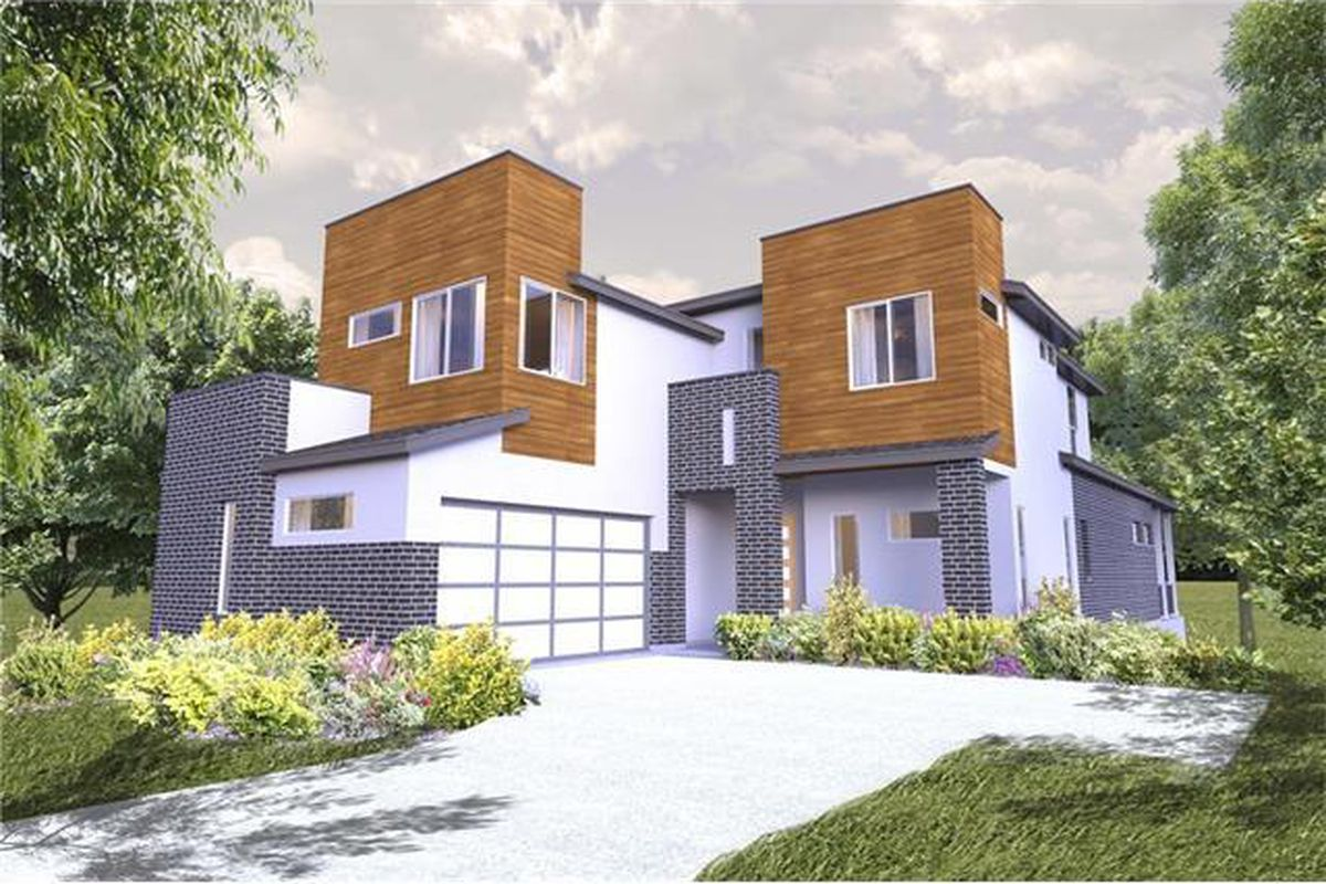 Rendering of big contemporary house with blocky wood upstairs and purple something downstairs