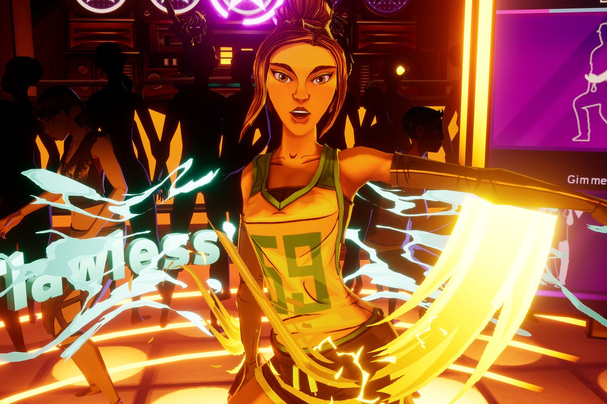 """A dancer performs a """"flawless"""" move in a screenshot from Dance Central VR"""