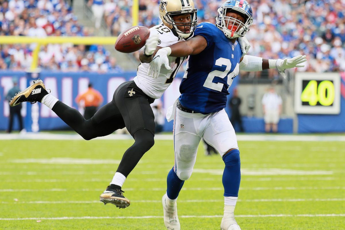 The Saints' Brandin Cooks and the Giants' Eli Apple (GettyImages)