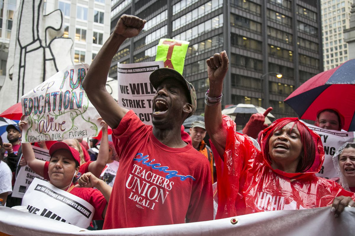 More than 100 members of the Chicago Teachers Union to march around City Hall and rally for an elected representative school board