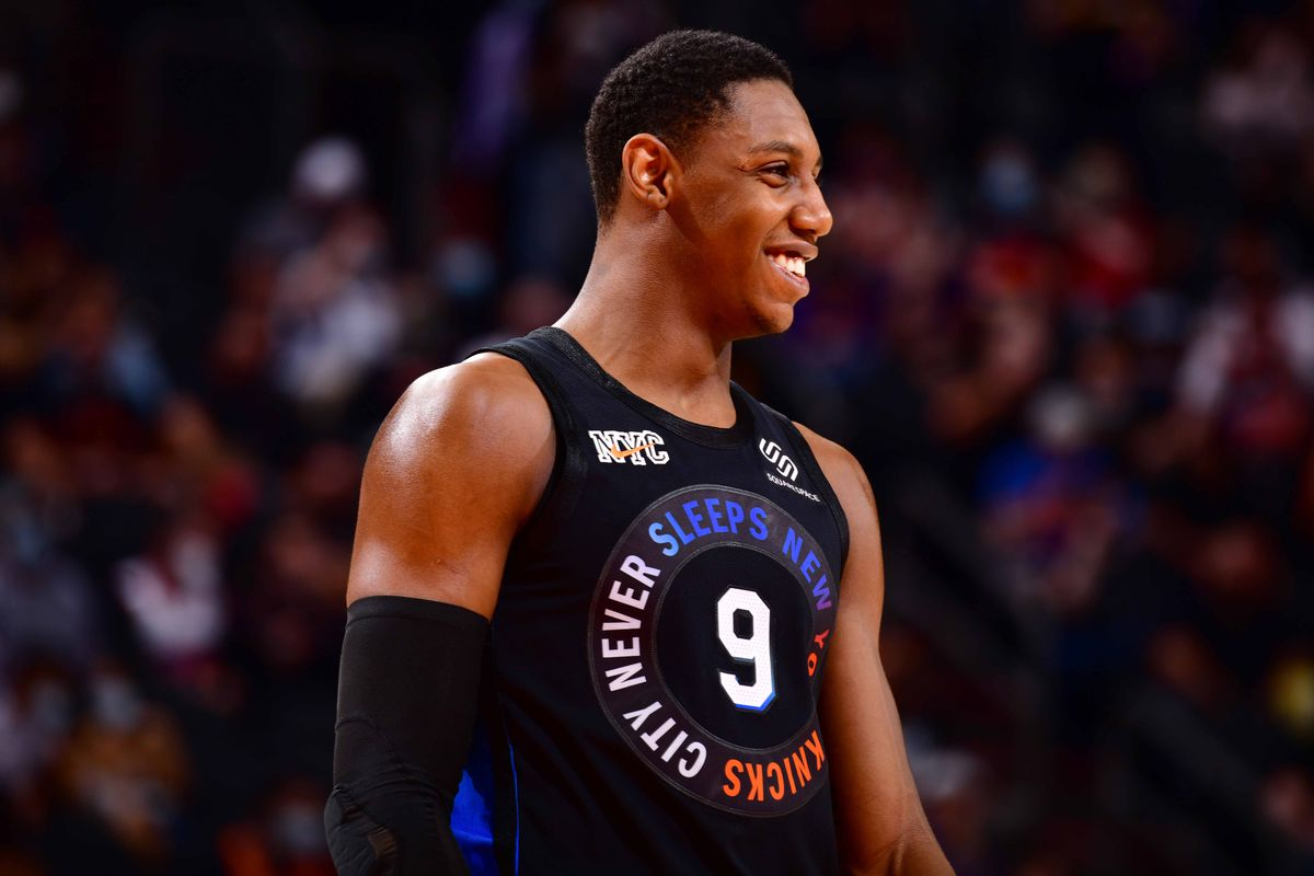 RJ Barrett #9 of the New York Knicks smiles during the game against the Phoenix Suns on May 7, 2021 at Talking Stick Resort Arena in Phoenix, Arizona.