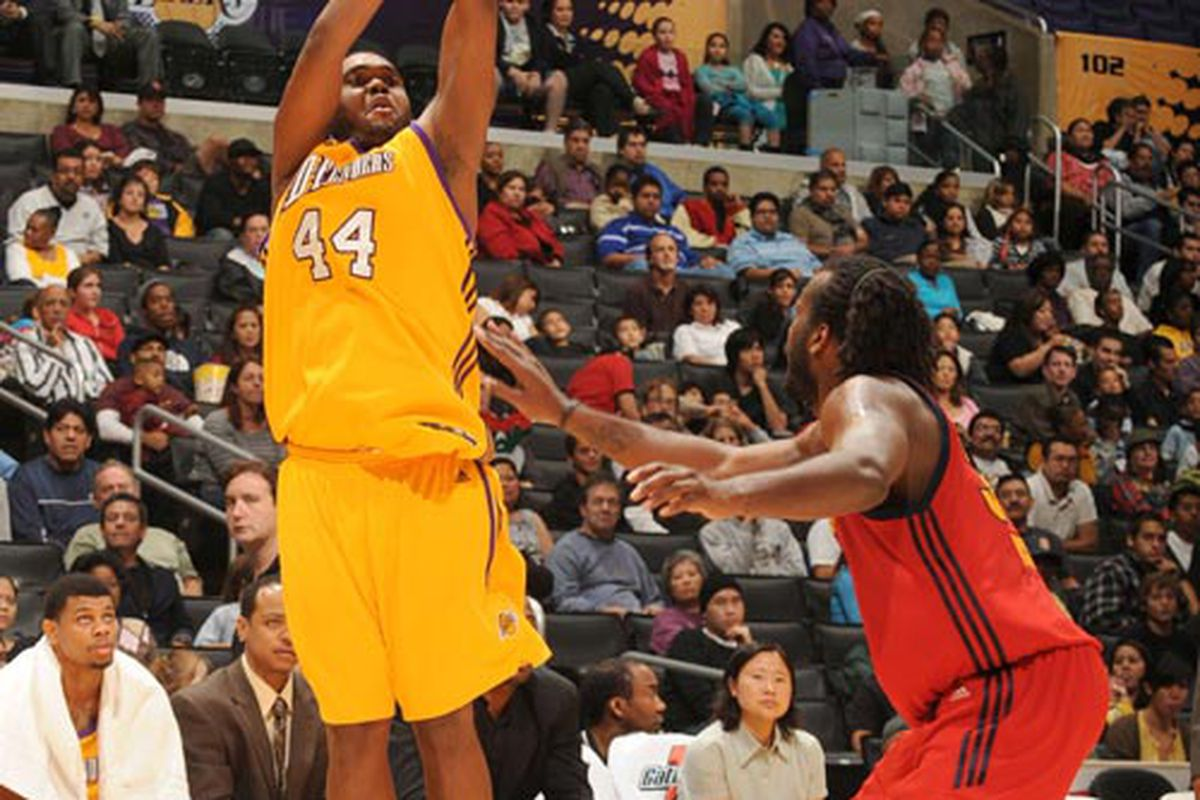 <strong>Jasper Johnson</strong> showing his 3-point shot off earlier this season with LA D-Fenders.  <strong>Sun Yue</strong> later replaced him.