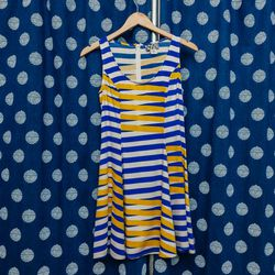 """Dusen Dusen Swing Dress, <a href=""""http://onanyc.com/collections/dresses/products/swing-dress-blue-moire"""">$168</a>"""