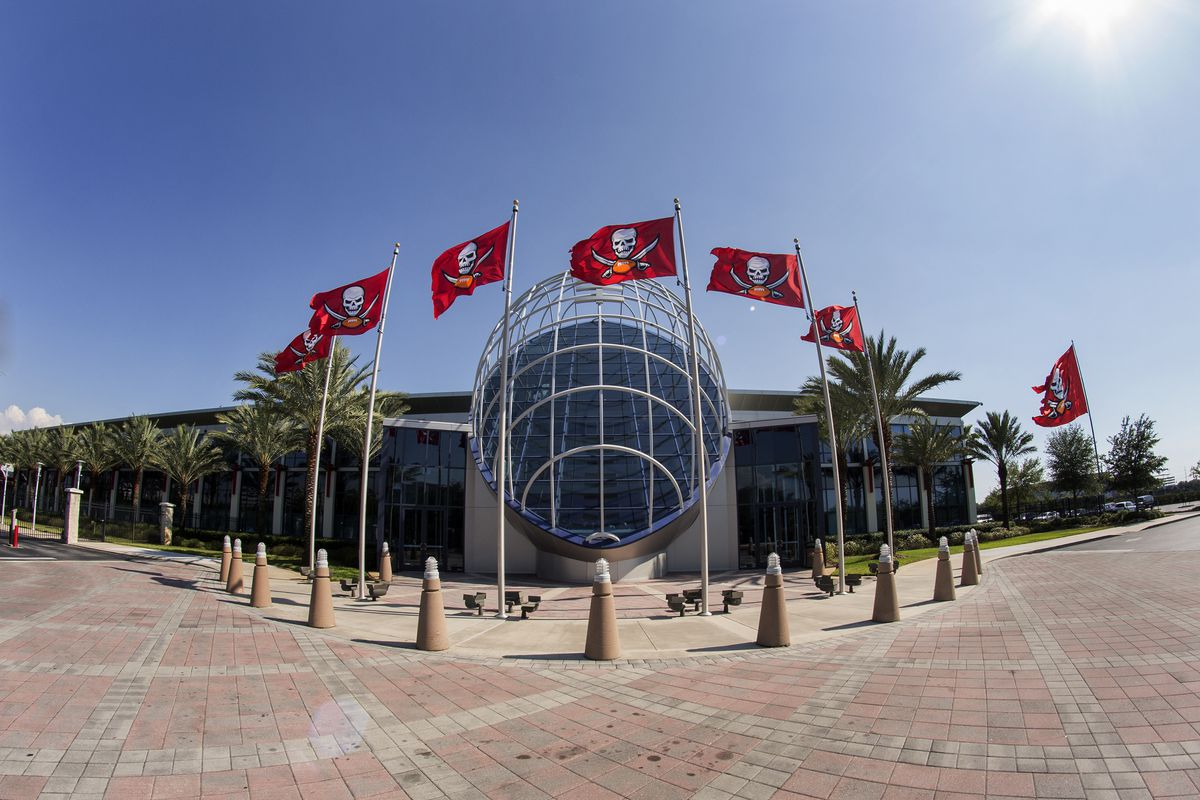A general view of the front of Tampa Bay Buccaneers front office, One Buccaneer Place, during Rookie Mini Camp on May 9, 2015 in Tampa, Florida.