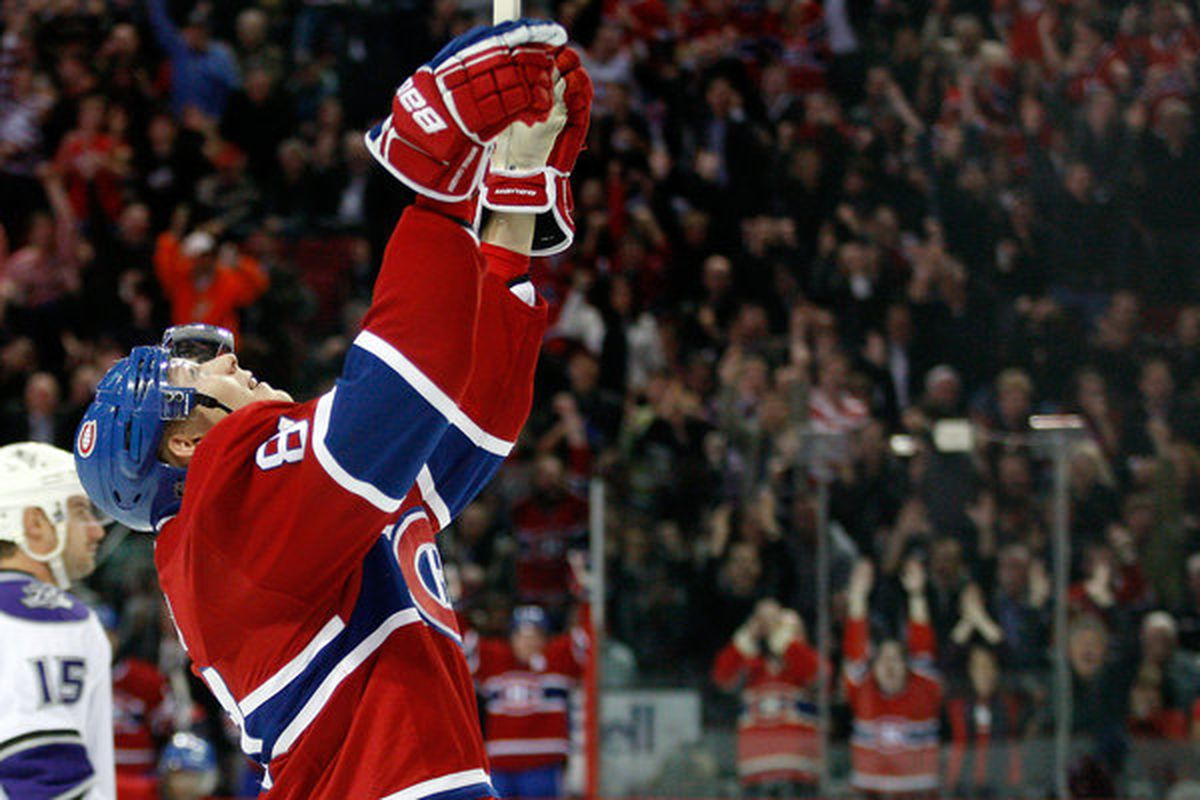 Lars Eller could find himself centering a offensively charged third line with the Montreal Canadiens in 2011-12.  (Photo by Richard Wolowicz/Getty Images)
