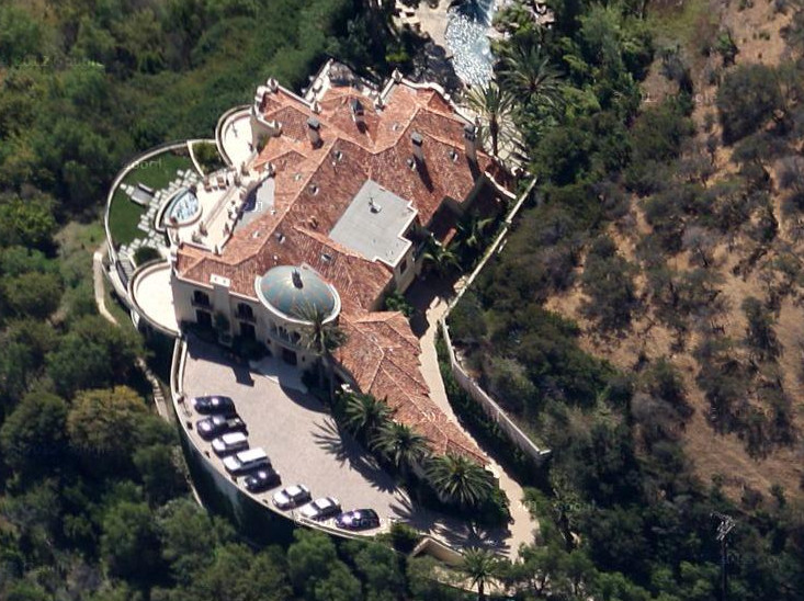 An aerial view of a large house in Beverly Hills, California.
