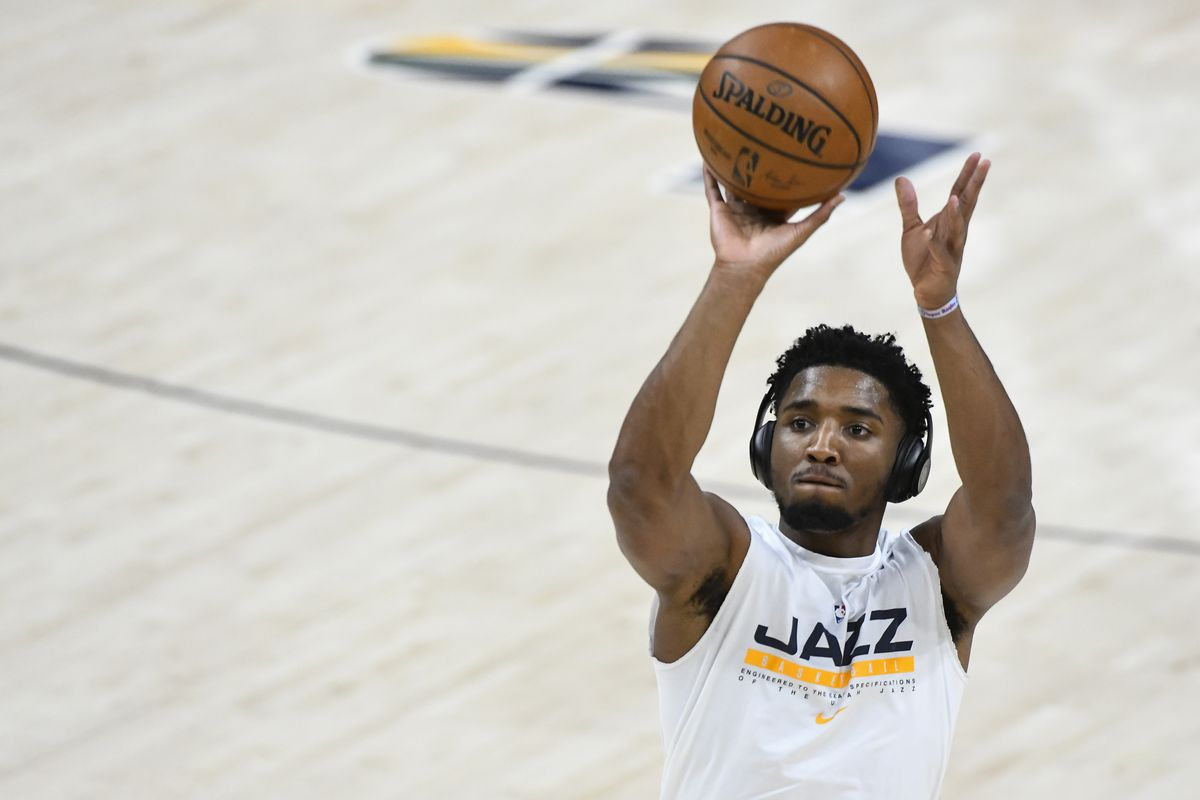 Donovan Mitchell #45 of the Utah Jazz warms up before a game against the Milwaukee Bucks at Vivint Smart Home Arena on February 12, 2021 in Salt Lake City, Utah.