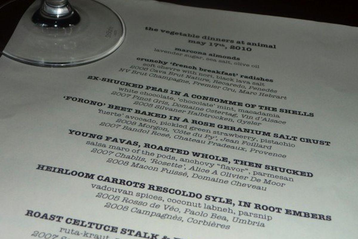 Jeremy Fox's opening menu at Animal.