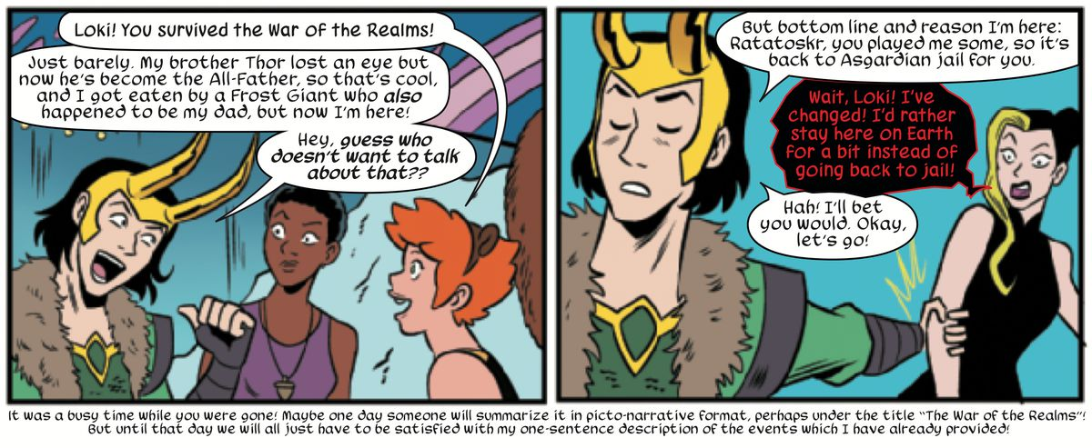 Loki, Nancy, Squirrel Girl, and Norse squirrel god of chaos, Ratatoskr, in The Unbeatable Squirrel Girl #46, Marvel Comics (2019).
