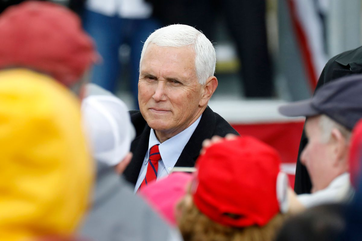 Vice President MIke Pence greeting supporters at a campaign rally in Michigan on October 22.