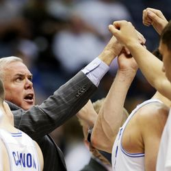 BYU basketball coach Dave Rose huddles with his team during game against Illinois State in Provo on Wednesday, Dec. 6, 2017. BYU won 80-68.