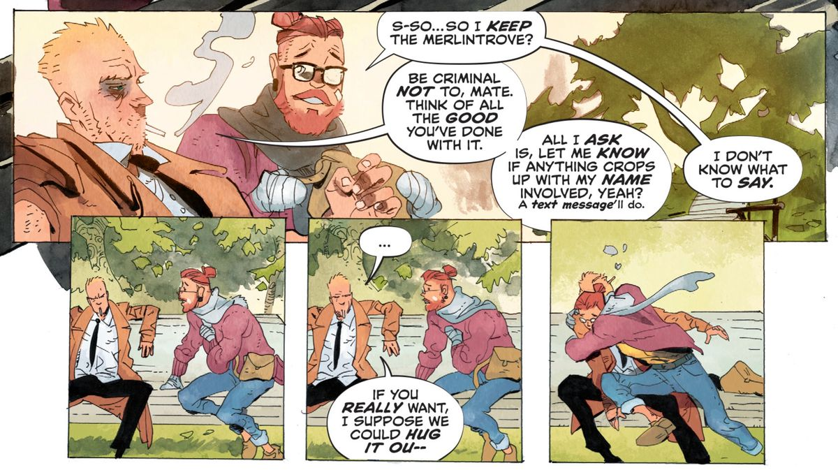 """John Constantine gives Tommy Willowtree the """"Merlintrove"""" and charges him to keep protecting England's magical interests with his approval. Tommy gives him a big unwanted hug, in Hellblazer #5, DC Comics (2020)."""