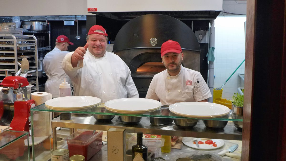 Callegari gives a thumbs up to pizzas impersonating pastas.