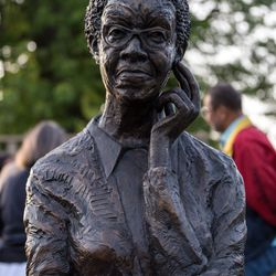 The newly unveiled Gwendolyn Brooks' sculpture at the Gwendolyn Brooks Park.   Erin Brown/For the Sun-Times